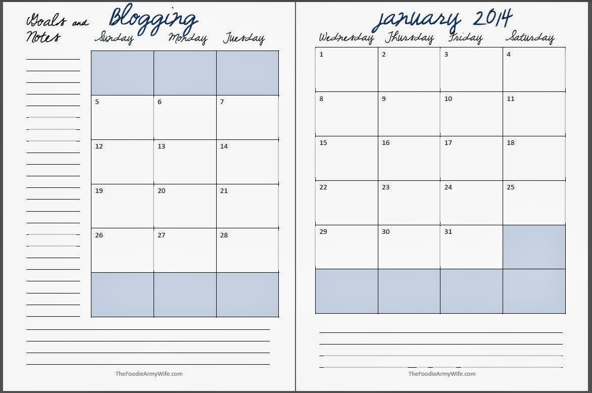 20014 Printable Blog Planner