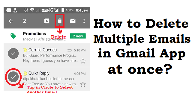 How to delete gmail inbox in android