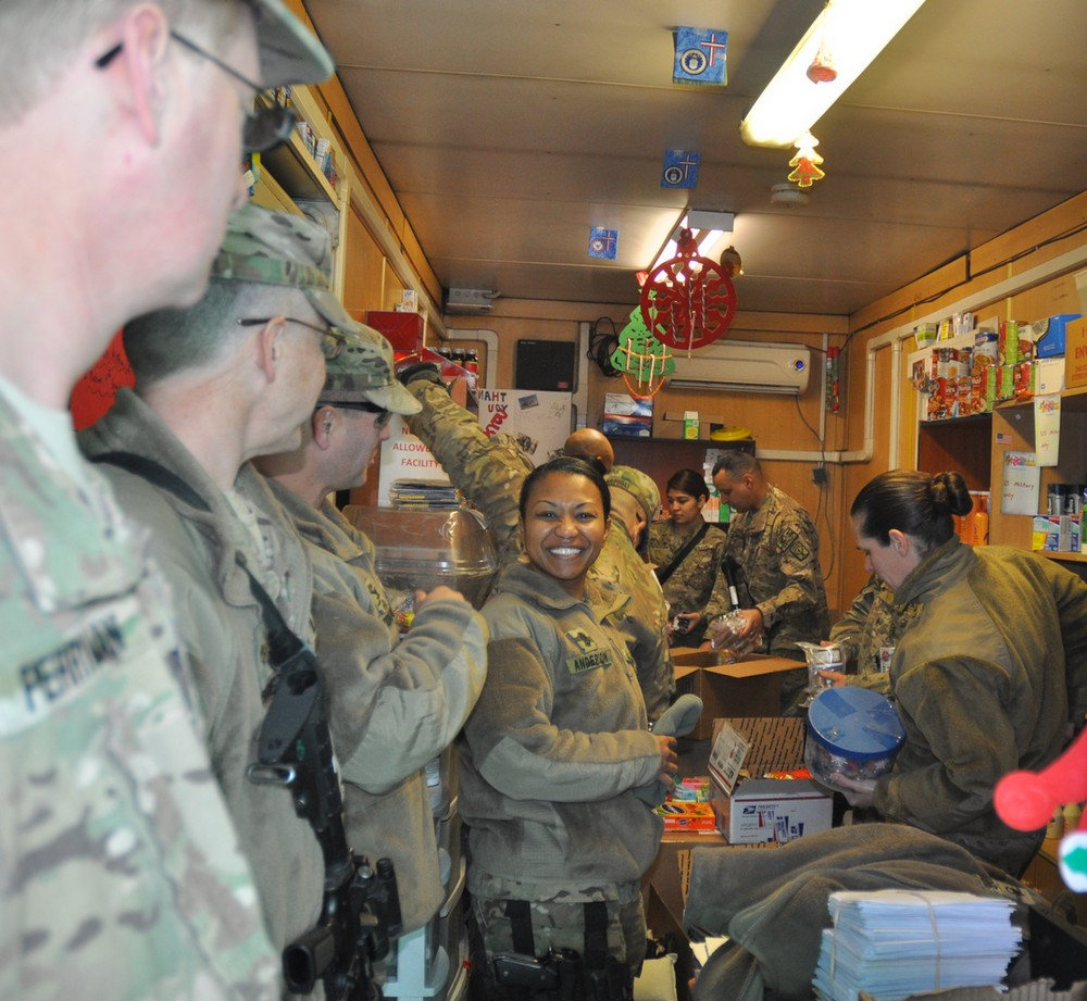 U.S. Soldiers enjoying care packages in Afghanistan