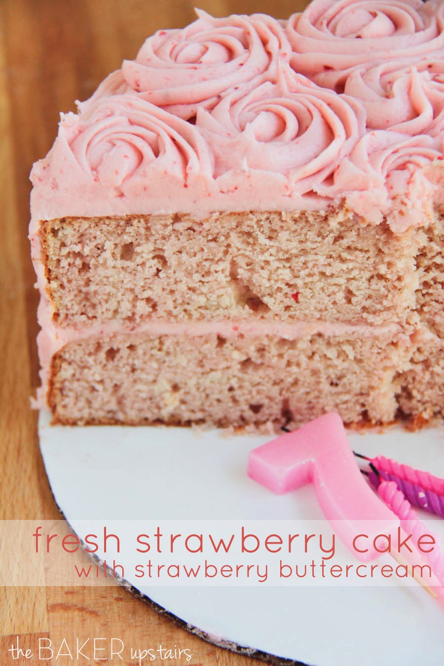 This beautiful and delicious fresh strawberry cake with strawberry buttercream is perfect for any summer celebration!