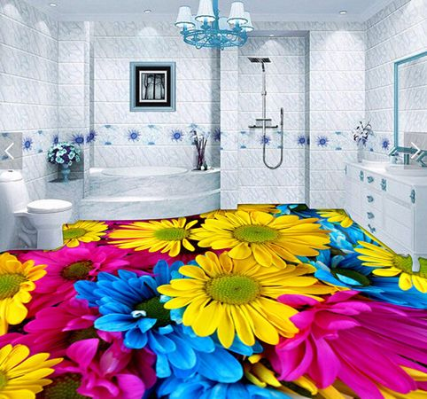 epoxy painted floor for bathroom with 3D floral flooring murals