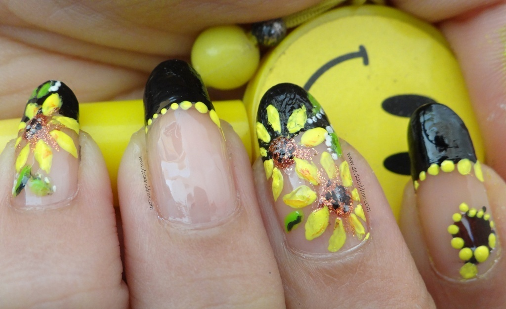 Summer Sunflower Nail Art Step By Step Tutorial Deck And Dine