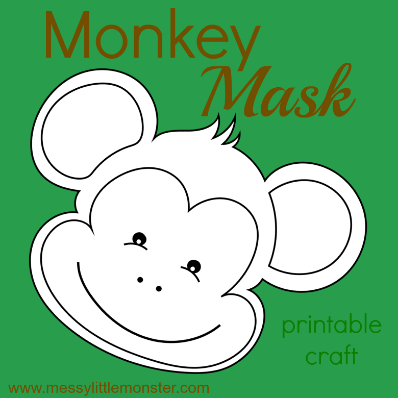monkey mask craft for kids. Free printable monkey temnplate