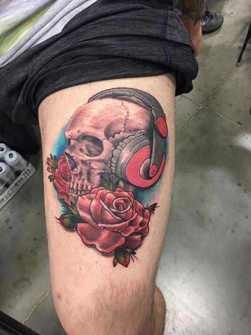 skull and rose tattoo gül ve kuru kafa dövmesi