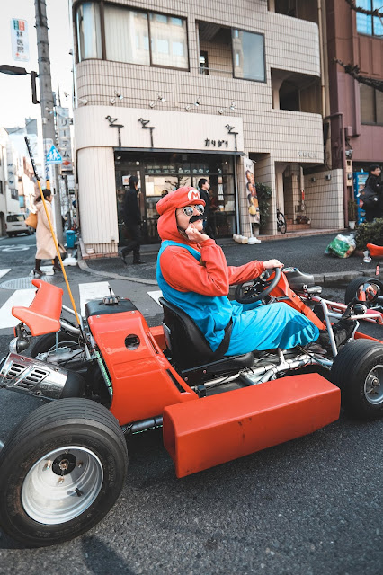 Alicia Mara dressed as Mario Go-Kart Experience Tokyo