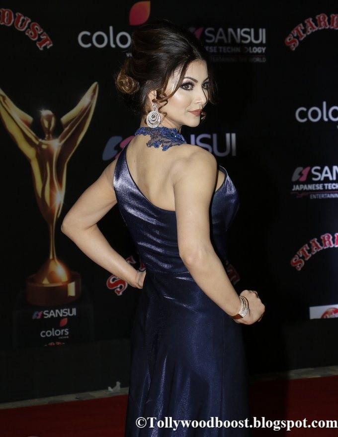 Beautiful Girl Urvashi Rautela At Sansui Colors Stardust Awards In Blue Dress