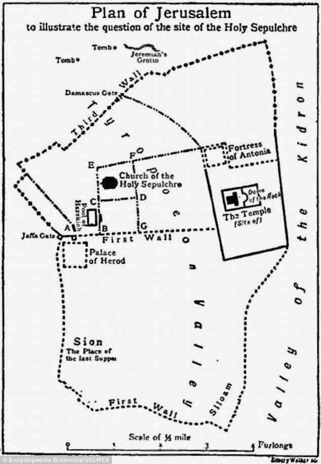 Plano de Jerusalém no tempo de Jesus. O palácio de Herodes aparece à esquerda junto à Porta de Jaffa. Mapa de uma enciclopédia de 1911