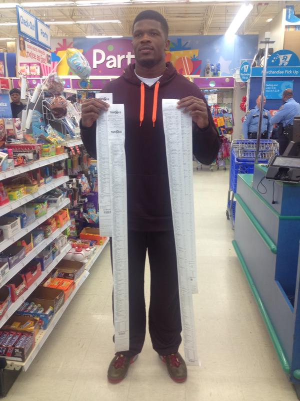 Wide receiver Andre Johnson decided to give some children in Child Protective Services ten seconds to get whatever toys they wanted from Toys R Us—and these are the receipts.