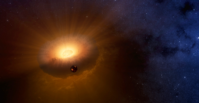 This artist's rendering shows the hot, molten moon emerging from a synestia, a giant spinning donut of vaporized rock that formed when planet-sized objects collided. The synestia is in the process of condensing to form the Earth. This new model for the moon's origin answers outstanding questions about how the moon's composition compares to that of Earth. Image by Sarah Stewart/UC Davis based on NASA rendering.