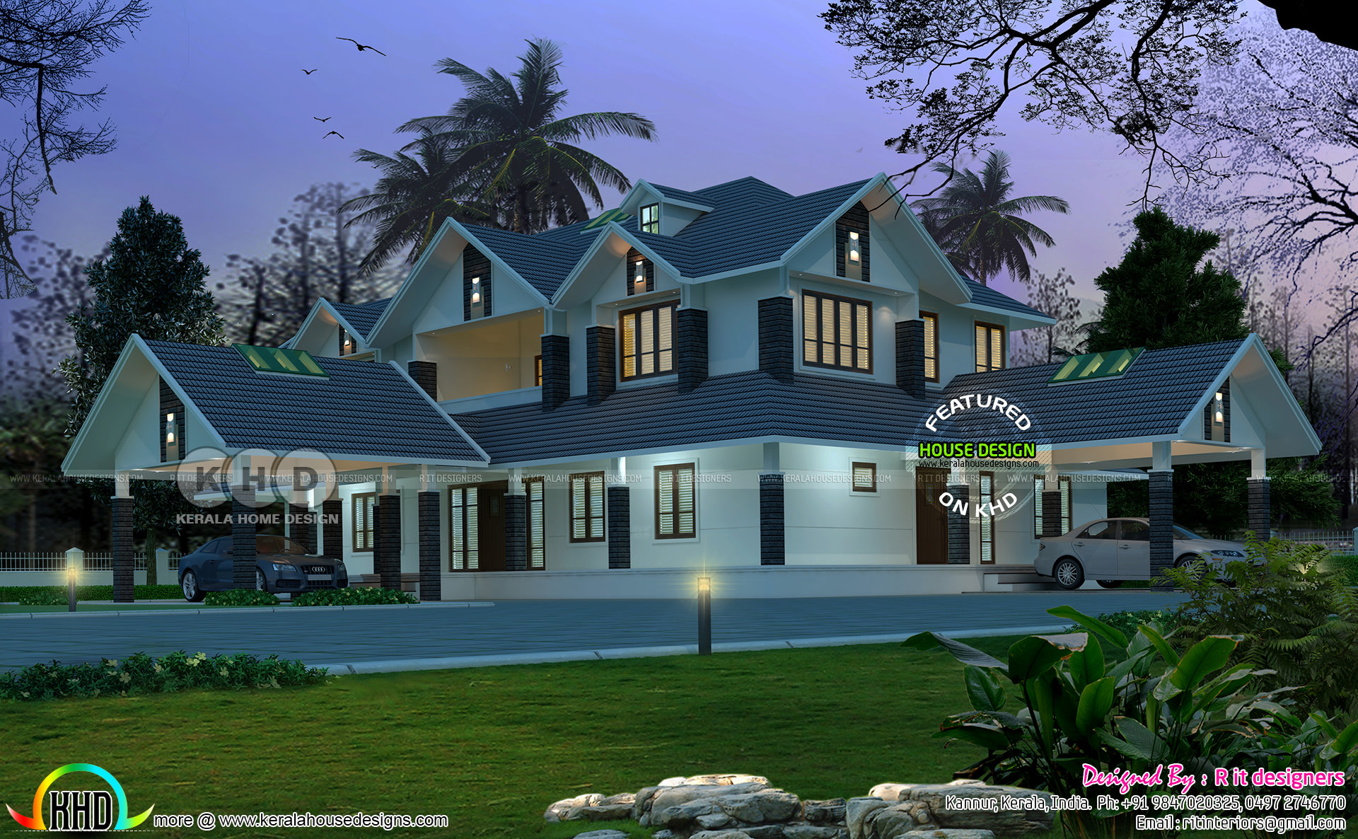 Sloping Roof 4 Bhk Luxurious House Plan Kerala Home