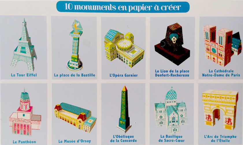 Mes monuments de paris en papertoys