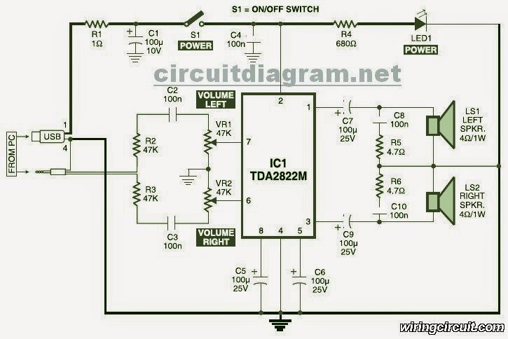 amplifiercircuits comthis is the circuit diagram of usb powered computer speaker, or it widely known as multimedia speakers for pcs the circuit has single chipbased design,