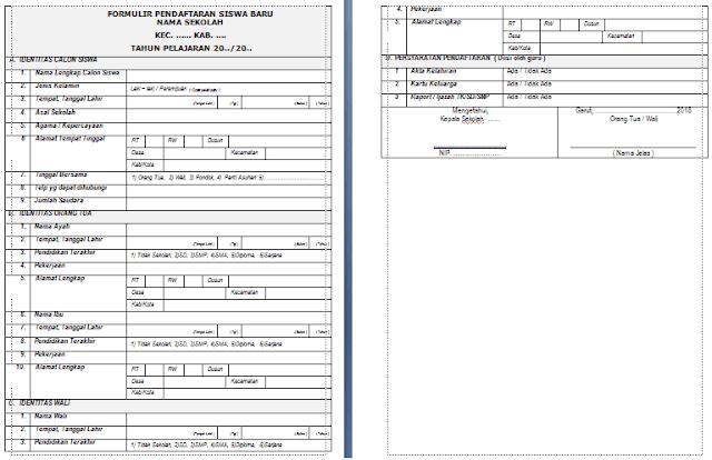 Download Formulir Pendaftaran Siswa Baru Tahun 2018