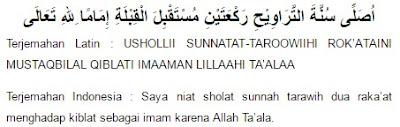 niat sholat tarawih untuk imam