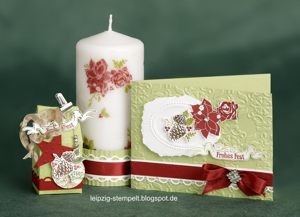 Weihnachtskarte, Kerze, bestempelt, Stempelclub, Big Shot
