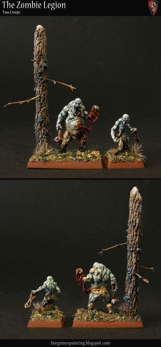 Two dregs from Reaper Miniatures painted to be used as a Zombie unit filler - one of them on a bigger base with a scratchbuilt tree.