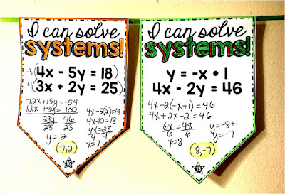 Systems of Equations Pennant {elimination & substitution}