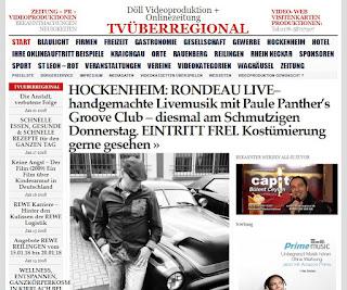 HOCKENHEIM: RONDEAU LIVE– handgemachte Livemusik mit Paule Panther's Groove Club - diesmal am Schmutzigen Donnerstag. EINTRITT FREI. Kostümierung gerne gesehen   http://tvueberregional.de/hockenheim-rondeau-live-handgemachte-livemusik-mit-paule-panthers-groove-club-diesmal-am-schmutzigen-donnerstag-eintritt-frei-kostuemierung-gerne-gesehen/
