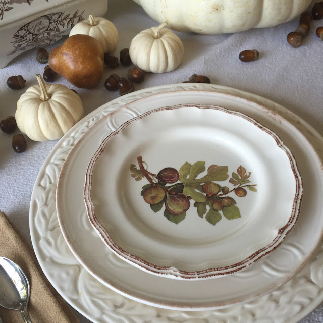 fall tablescape with fig plates
