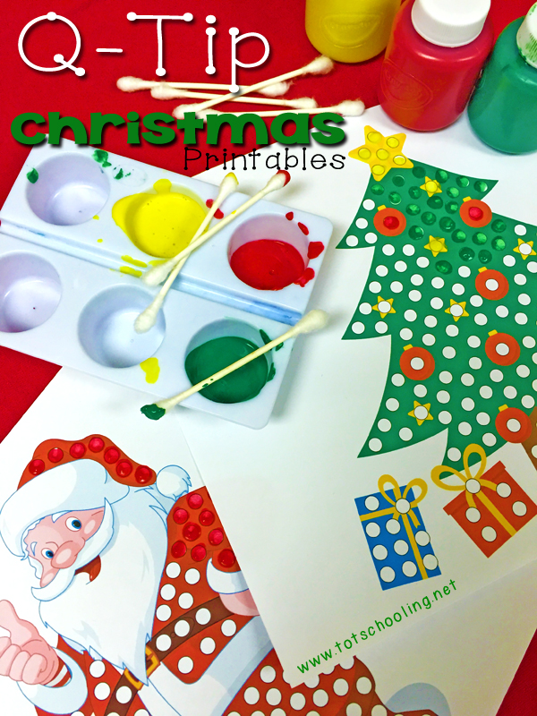 5 Free Printable Christmas themed Q-Tip Painting printables for preschoolers, including Santa Claus, Rudolph, Christmas tree, and an elf!