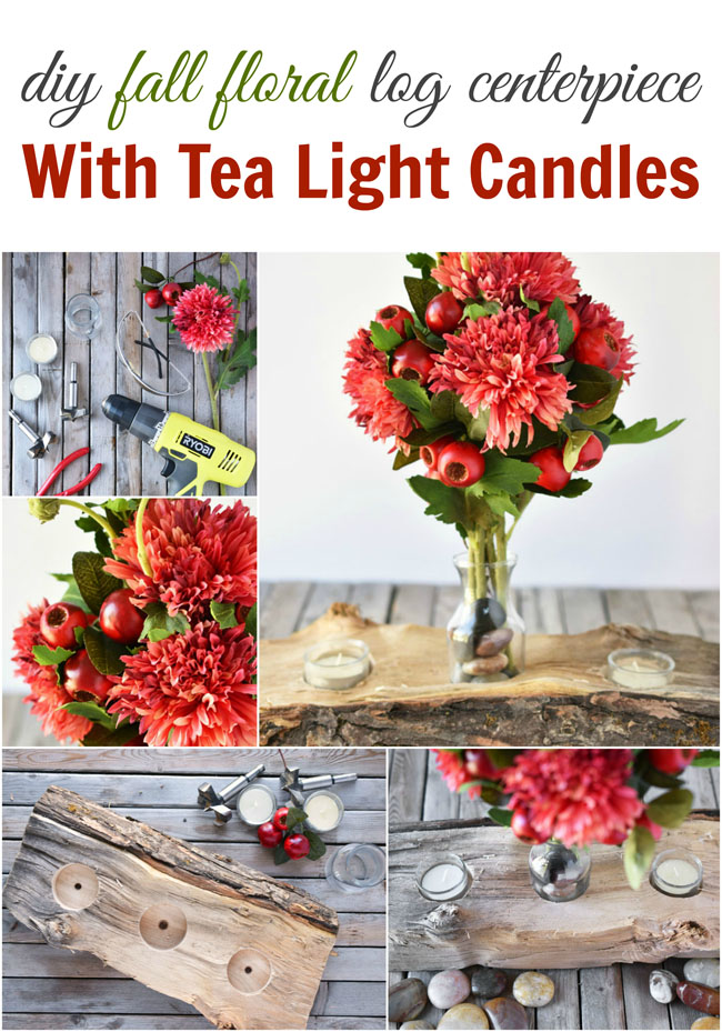 DIY Fall Floral Log Centerpiece With Tea Light Candles - A simple yet spectacular diy project for your fall table! A quick weekend project.