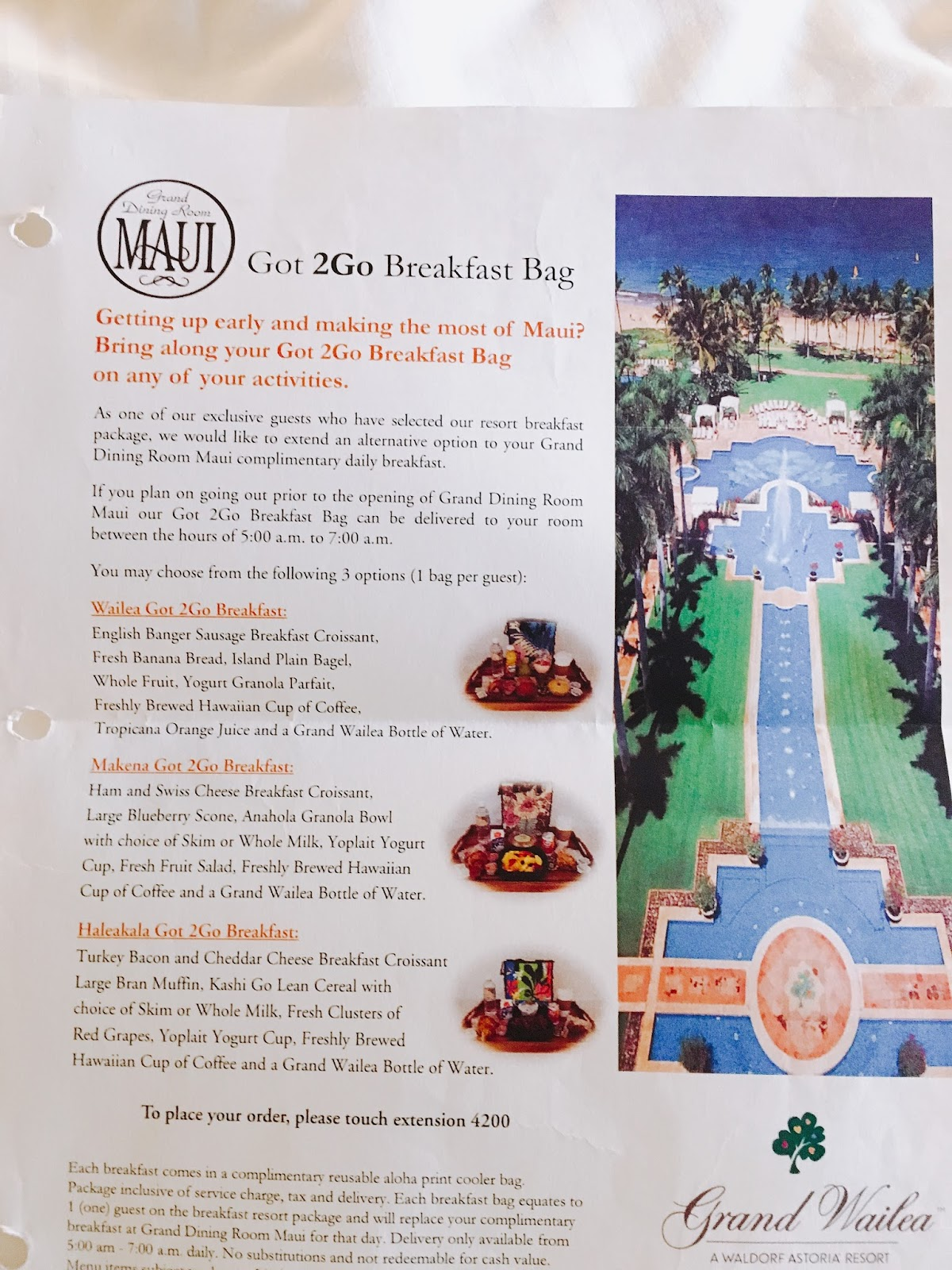 To Go breakfast information for the Grand Wailea