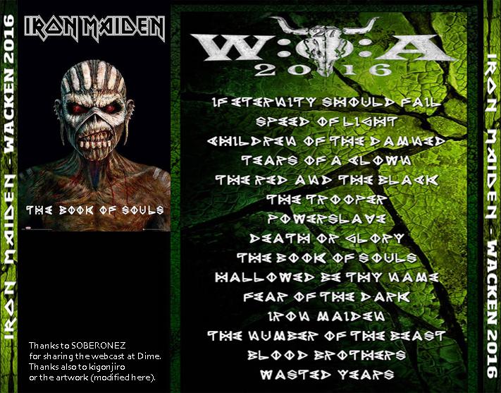 High Quality Bootlegs: Iron Maiden - Wacken 2016