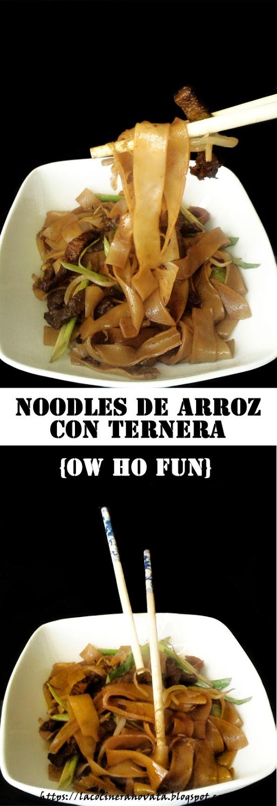 Noodles de arroz con ternera La Cocinera Novata receta plato gastronomia China pasta carne rapida fideos comer con palillos