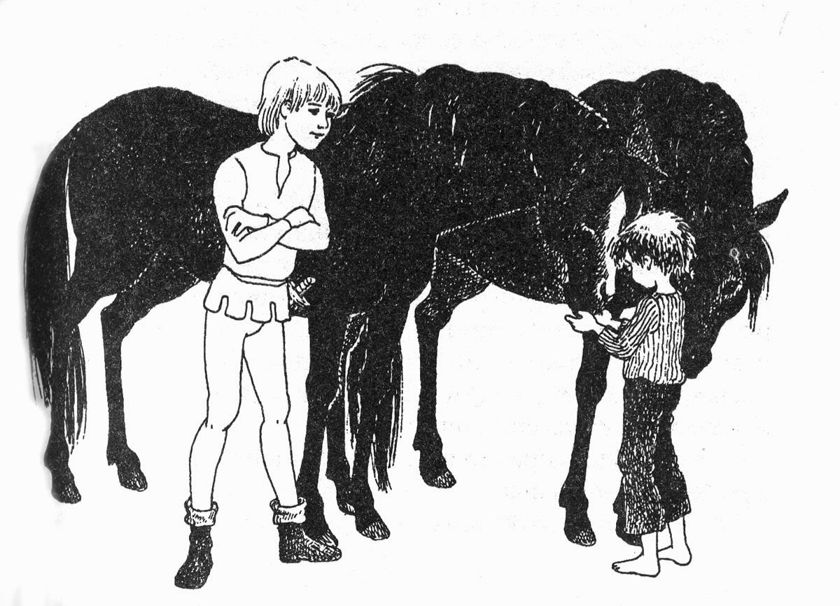 The boys with two horses, image by Ilon Wikland from the book The Brothers Lionheart