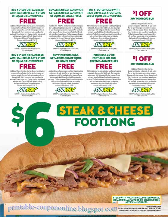 image regarding Printable Subway Coupons named subway discount coupons subway offers and each day promotions 2019