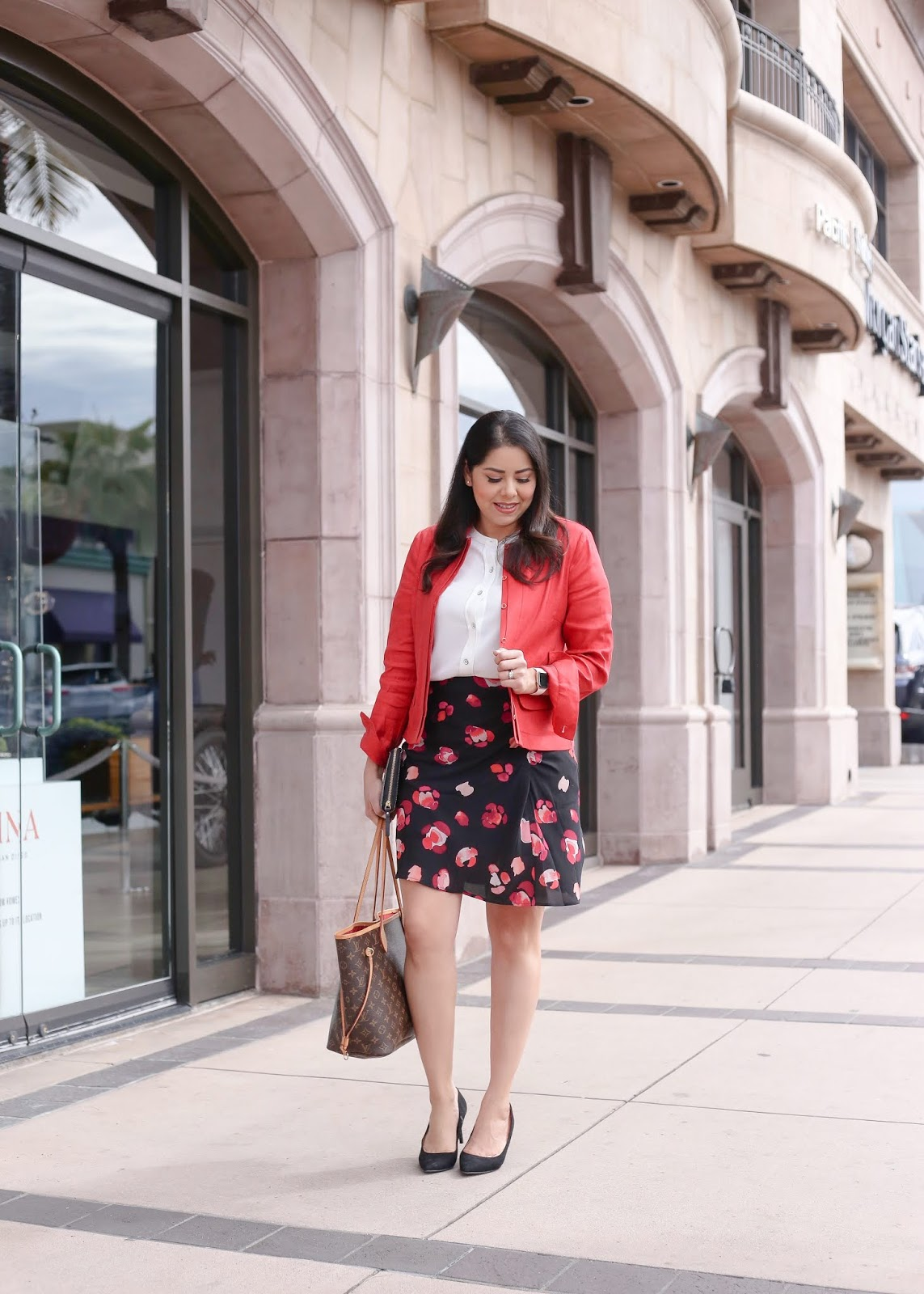 colorful work outfit, pop of red in the office, colorful office attire