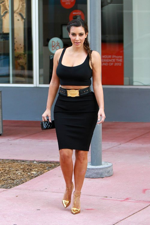 e99a8d0c4447 Kim Kardashian looks amazing in the streets of Miami She rocked a black  midriff-baring top, pencil skirt, an $836 Balmain Black Leather Belt with  Gold ...