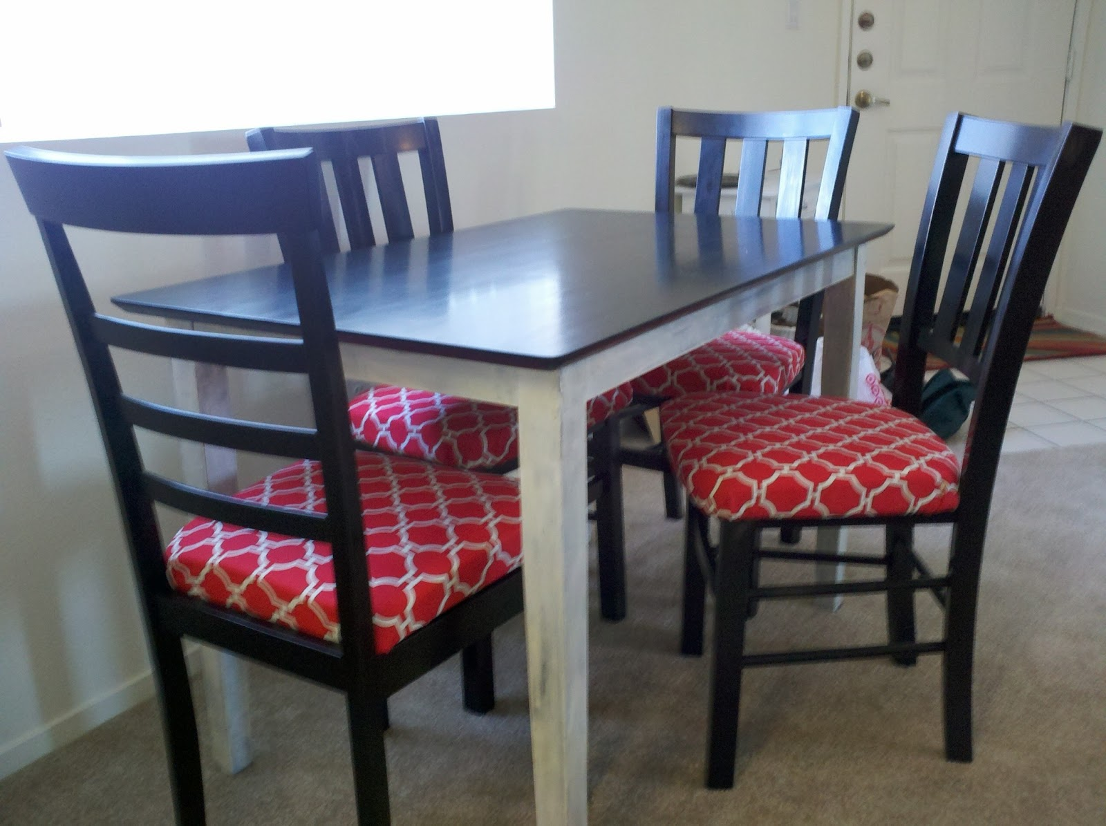so there re upholstered my dining chairs. Black Bedroom Furniture Sets. Home Design Ideas