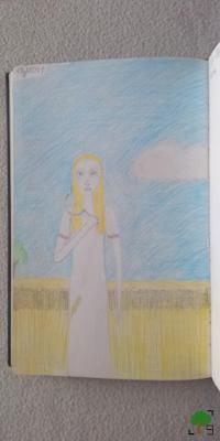 żniwa, lato, rysunek, demonologia słowiańska, demony, Słowianie, udar słoneczny