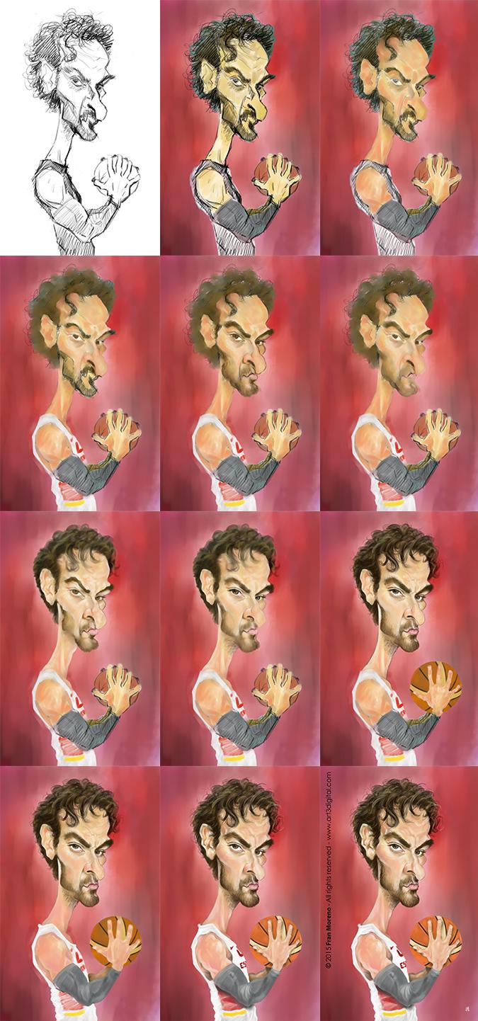 Proceso caricatura de Pau Gasol por Fran Moreno