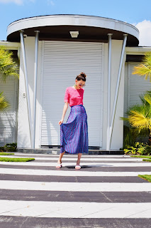 Styled Zara outfit featuring pattern and color mixing by Kate Bartlett