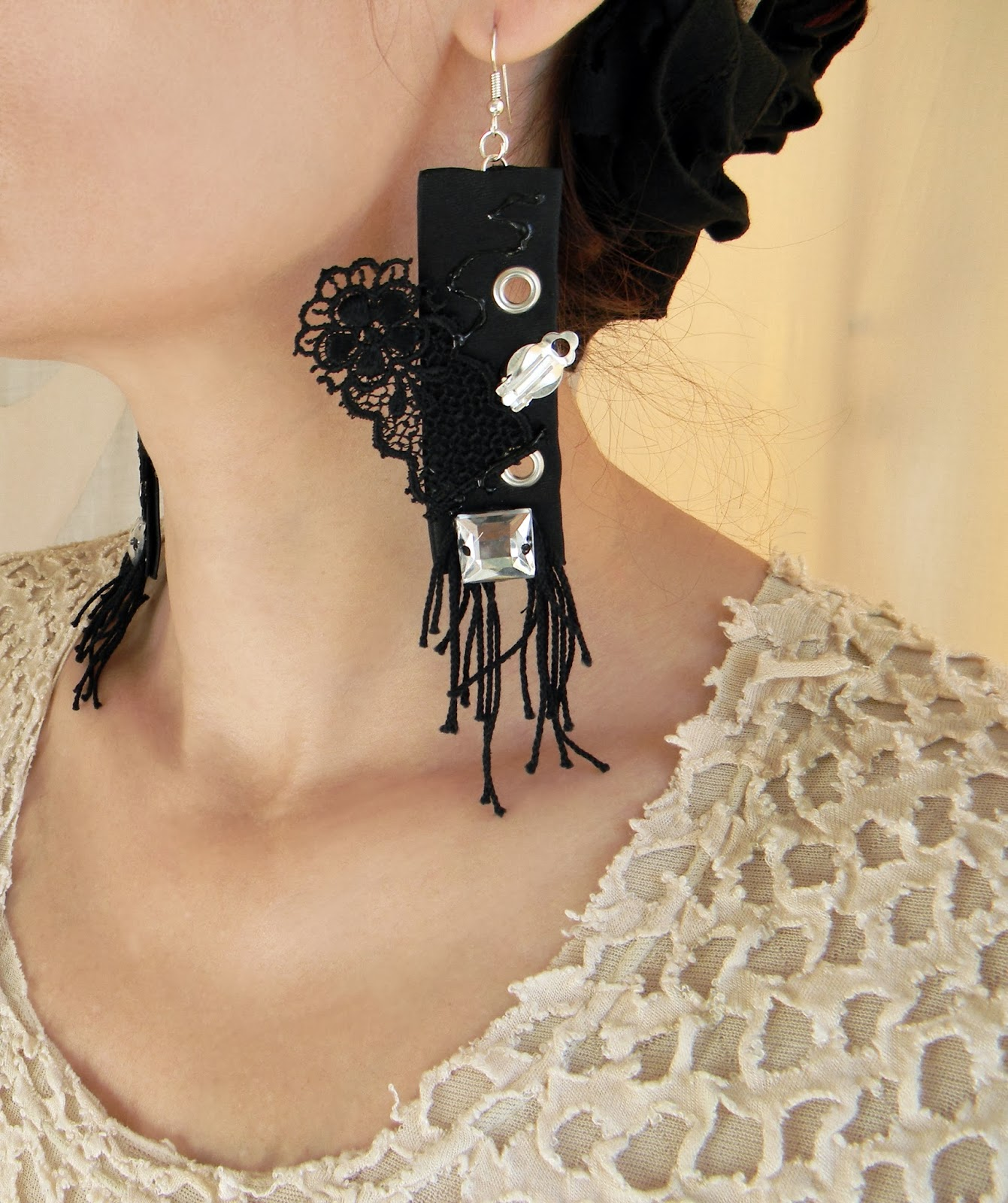 Gothic Earrings Steampunk Fusion Earrings with Quirky Applique in Black and Silvery