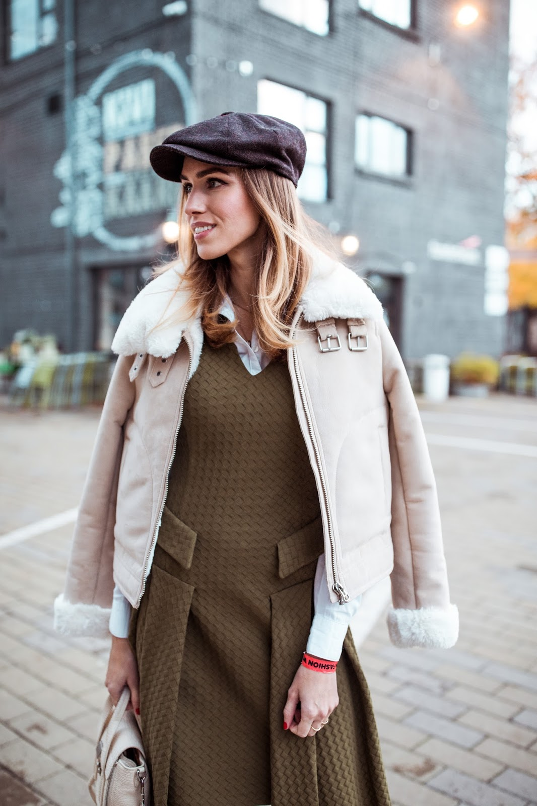 shearling jacket green dress paperboy hat