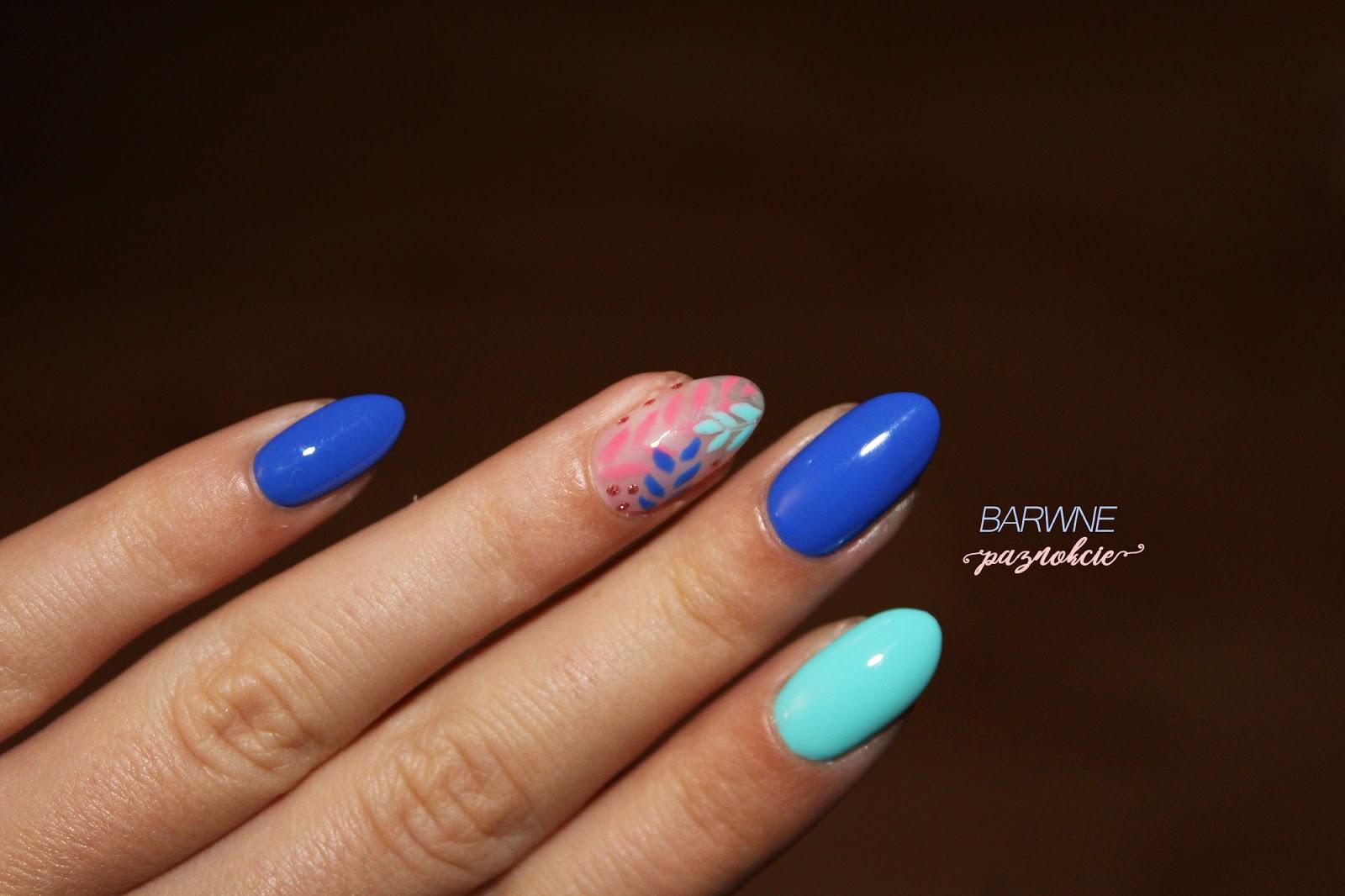 171 - Porto Marino, Semilac,  Tiny Rose - 516,  521 - Turquoise Blue, motyw liści, multichrom, jesienne paznokcie