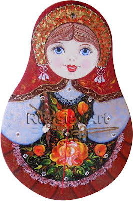 Clip Art Wall Clock Matryoshka in Russian style Volkhovskaya 1 File PNG + 1 file JPG Commercial Use