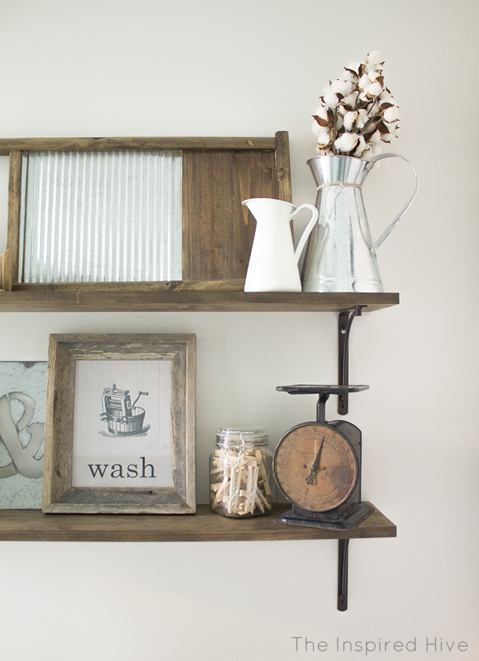 DIY rustic industrial laundry room shelving