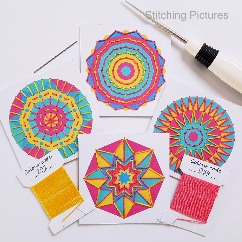 Free mini mandala print and stitch paper embroidery pattern set.