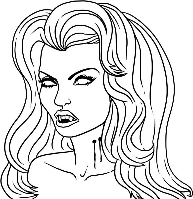 Vampire girl coloring pages to printable for Vampires coloring pages