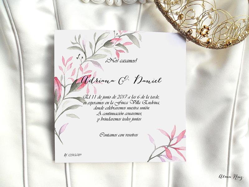 Acuarelas pintadas a mano para crear invitaciones de boda