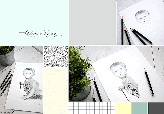 Moodboard retrato infantil dibujado a lápiz