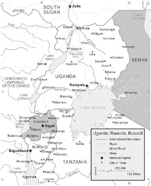 image: Black and white Uganda map