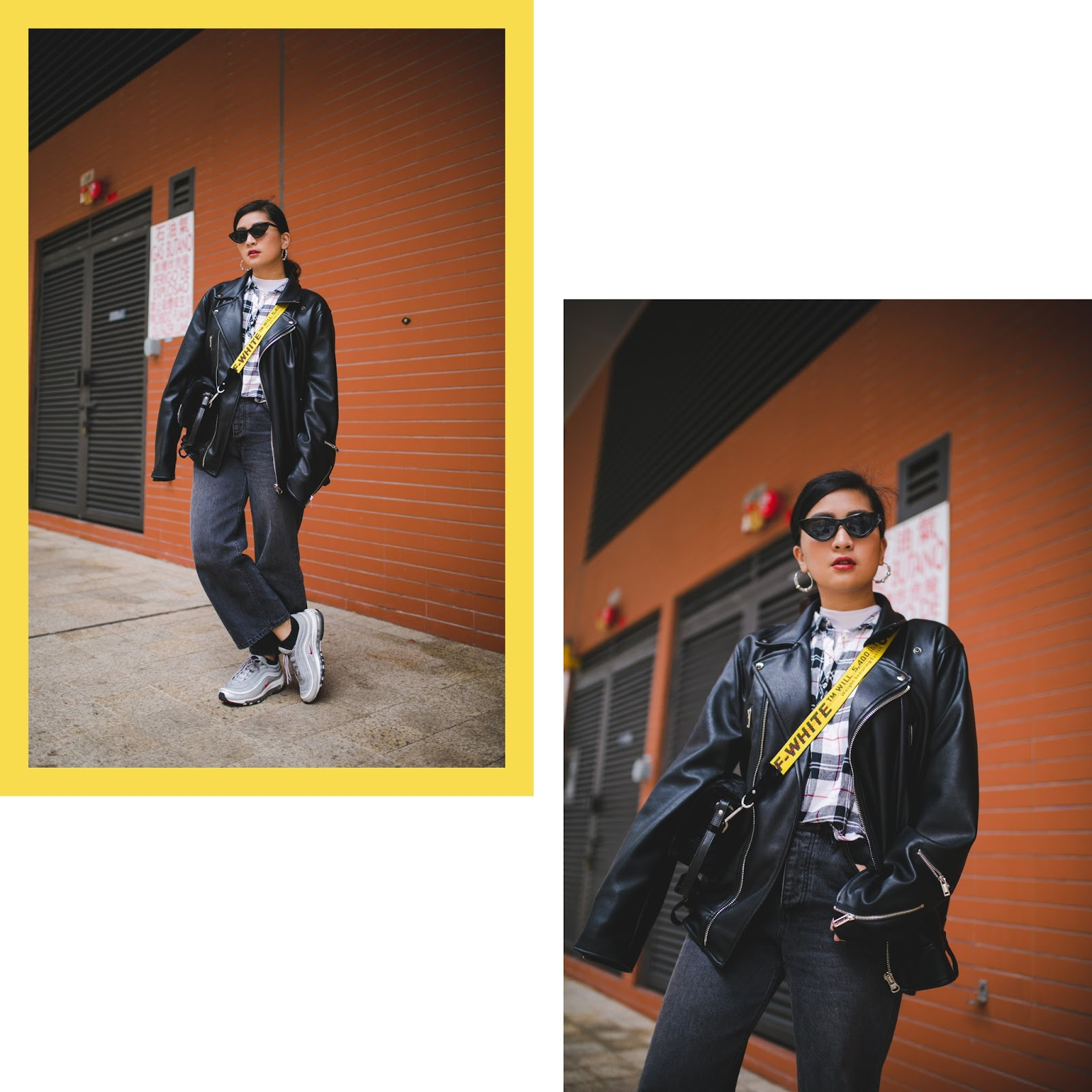 Streetstyle Biker Vibe in Leather Jacket and Air Max 97
