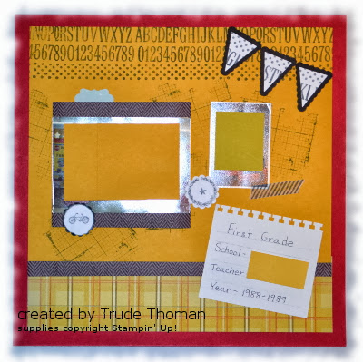 Stamp with Trude, school, scrapbook page, Stampin' Up!, Stampin' Around,