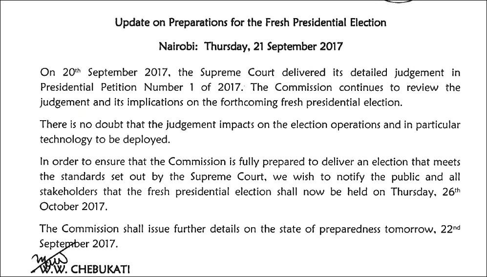 IEBC Changes Election Date New Date Of Kenya Elections