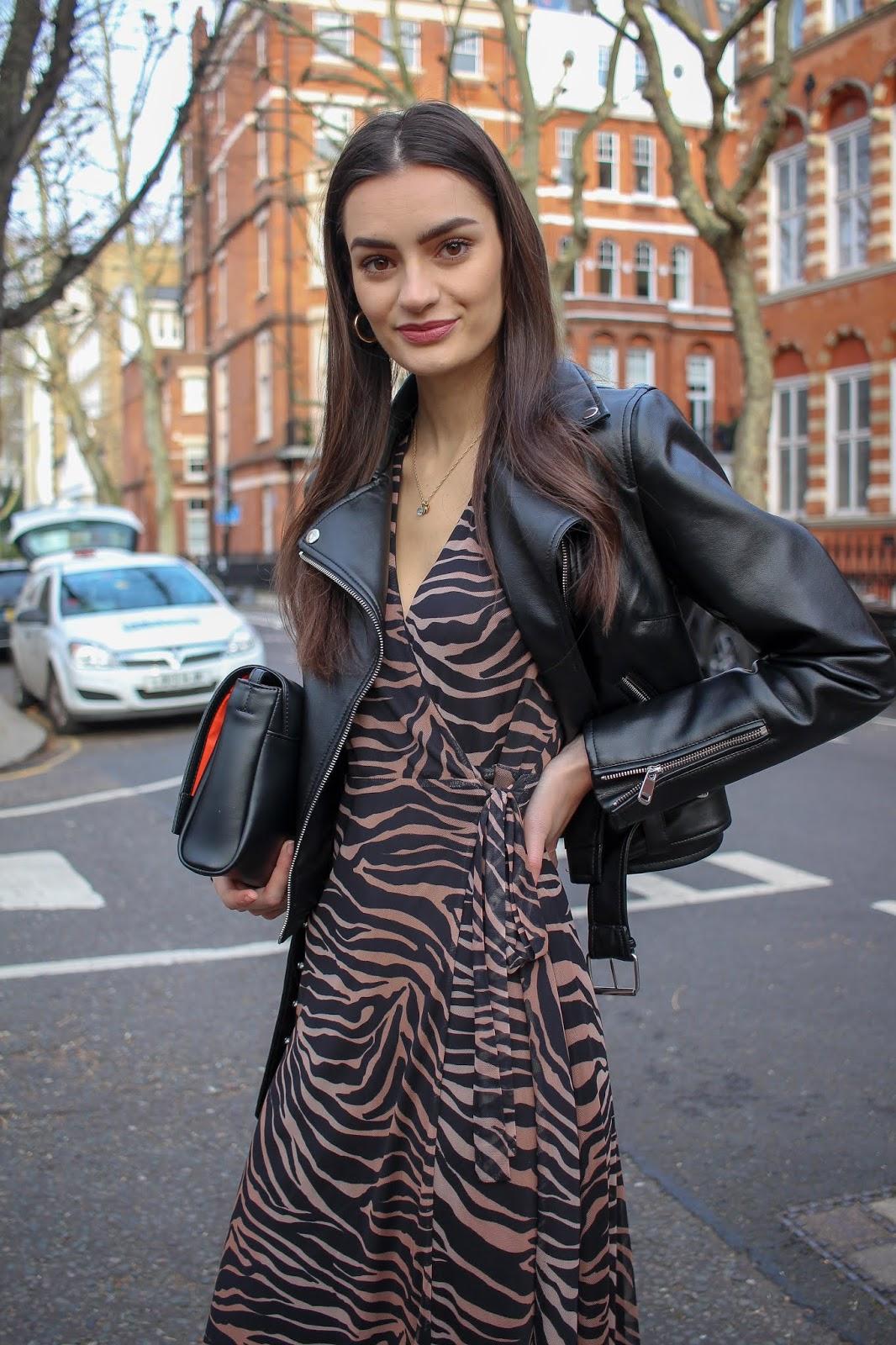 styling tiger print dress day-to-night